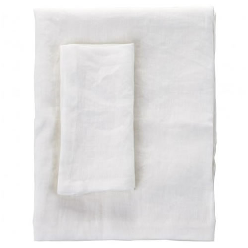 Moss Medium Linen Table Cloth in White