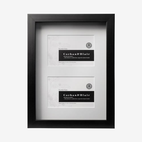 Twin Black Box Frame with Mat takes two 6x4 Images