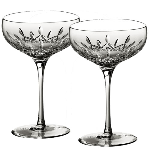 Lismore Essence Champagne Saucer Pair