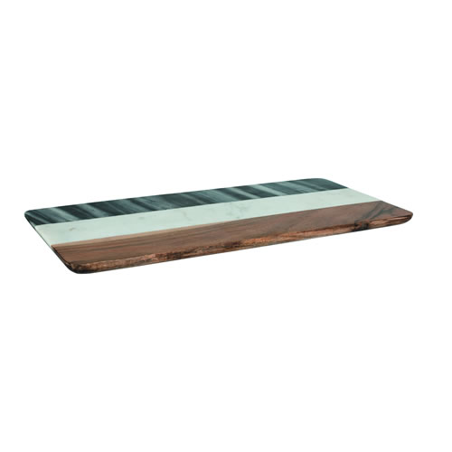 Two Tone Marble Acacia Wood Rectangular Serving Board