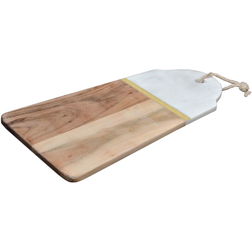 Marble, Brass and Acacia Wood Rectangle Serving Board