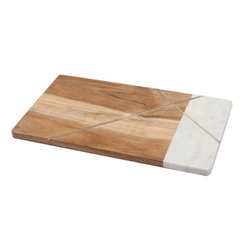Acacia Wood Marble with Geometric Brass Inlay Serving Board