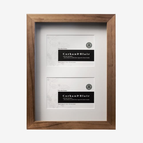 Twin Walnut Box Frame with Mat takes two 6x4 Images