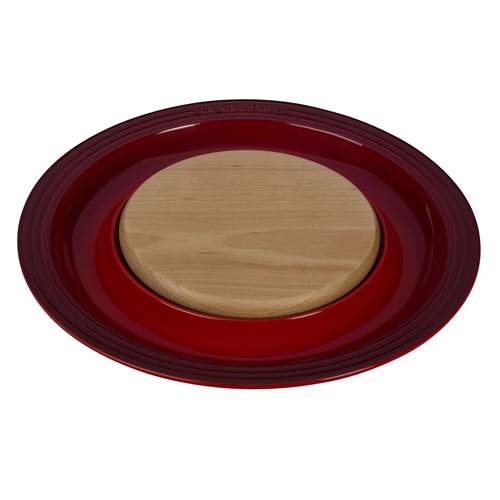 Cerise Round Platter with Cutting Board