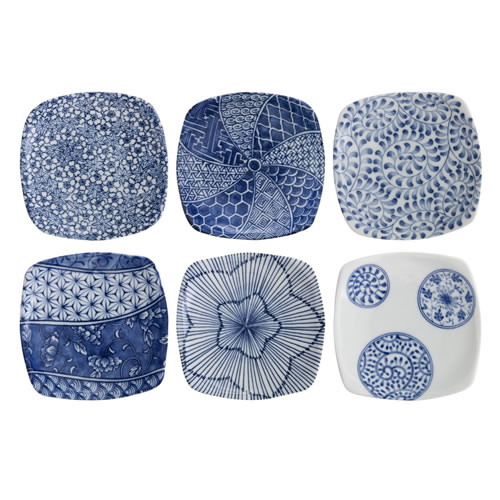 Aizome 10cm Blue and White Plates