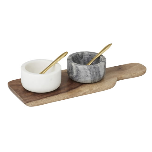 5pce Marble & Wood Condiment Set