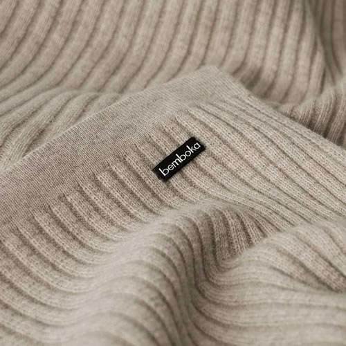Angora and Fine Merino Wide Rib Throw in Wheat
