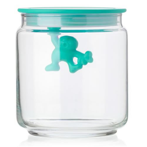 Gianni Glass Storage Jar with Blue Lid - Small 700ml