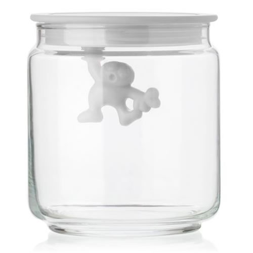 Gianni Glass Storage Jar with White Lid - Small 700ml