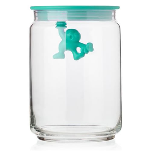 Gianni Glass Storage Jar with Blue Lid - Medium 900ml