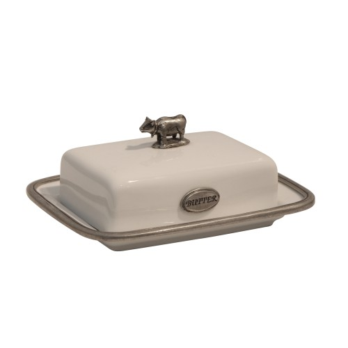 White Porcelain and Pewter Butter Dish