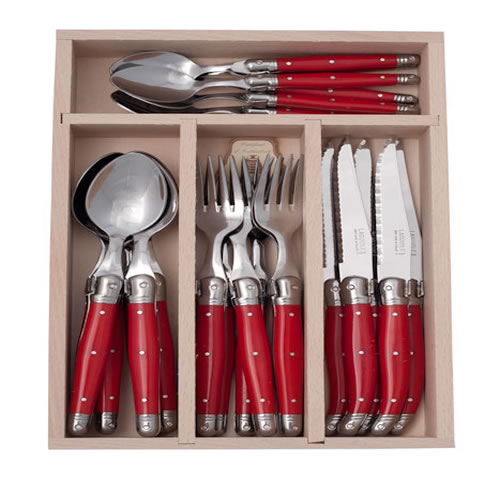 Debutant 24 Piece Red Cutlery Set