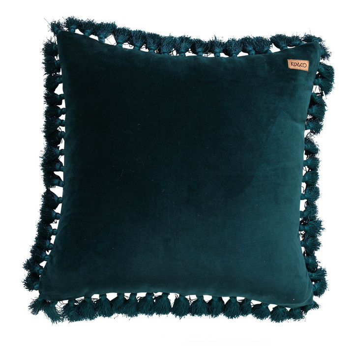 Alpine Green Velvet Tassel Cushion Cover
