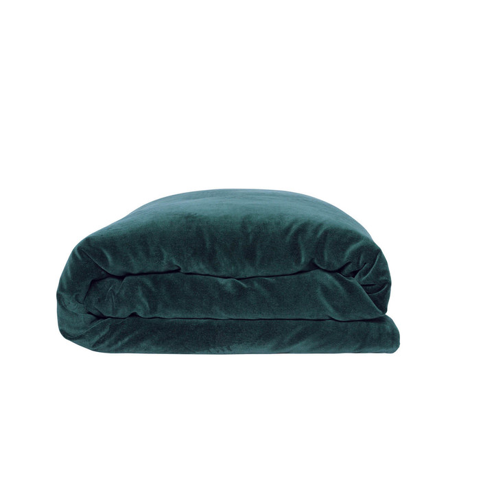 Alpine Green Velvet Quilt Cover - Queen