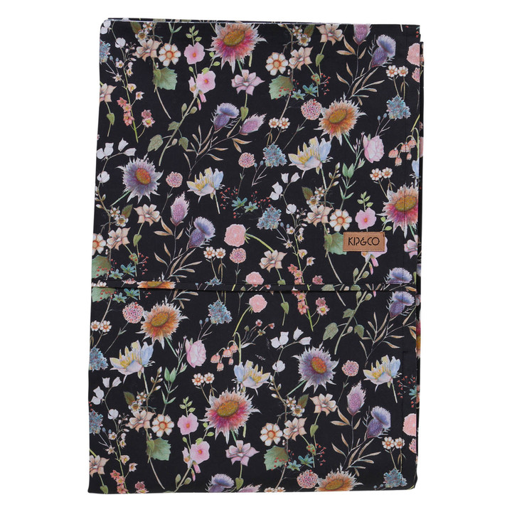 Bouquet Black Cotton Flat Sheet - King