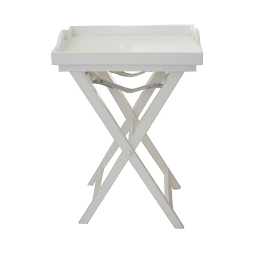 Wooden Butlers Tray 40x50 with Cross Legs 73cm in White
