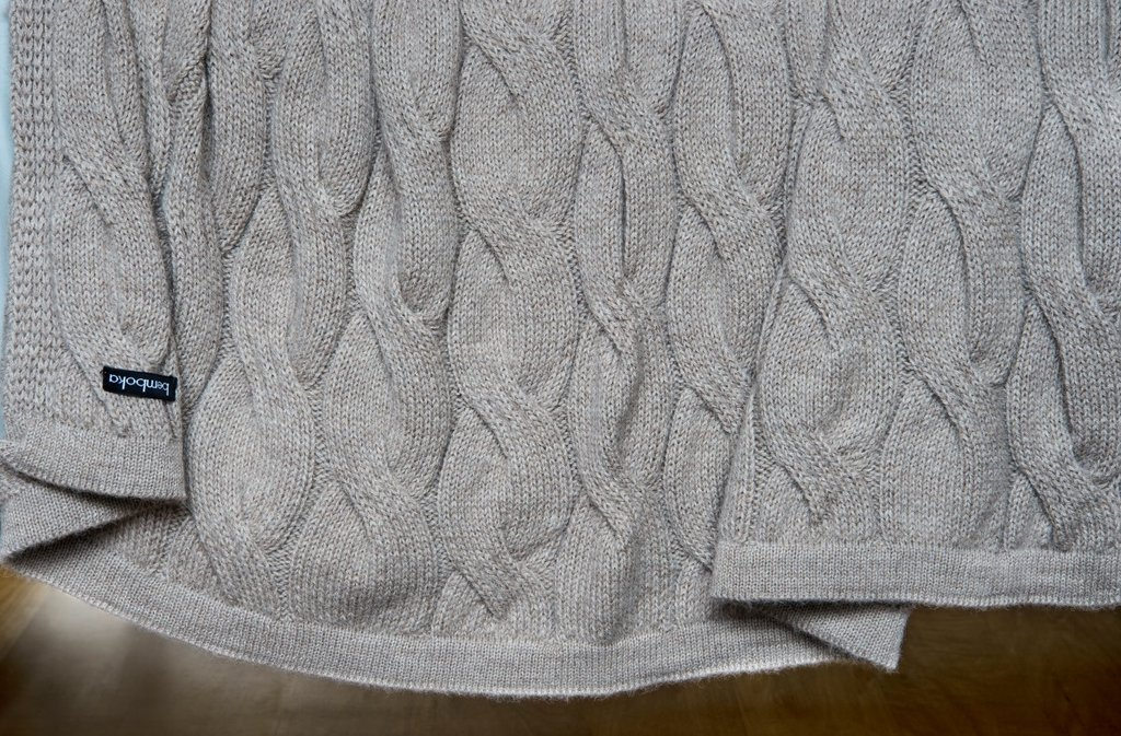 Grey Chunky Cable Throw