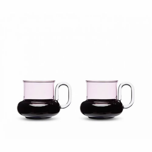 Bump Tea Cups Pink and Black Pair