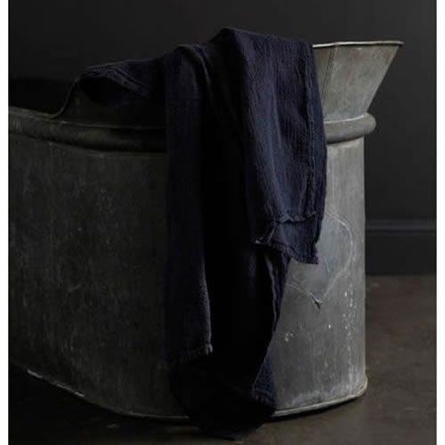 Jacquard Linen Bath Towel Navy