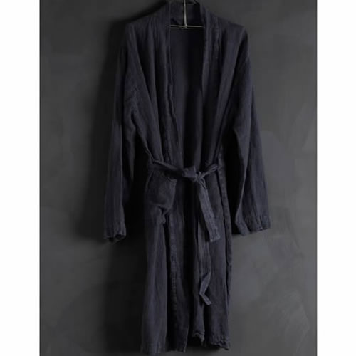 Bathrobe Linen Navy