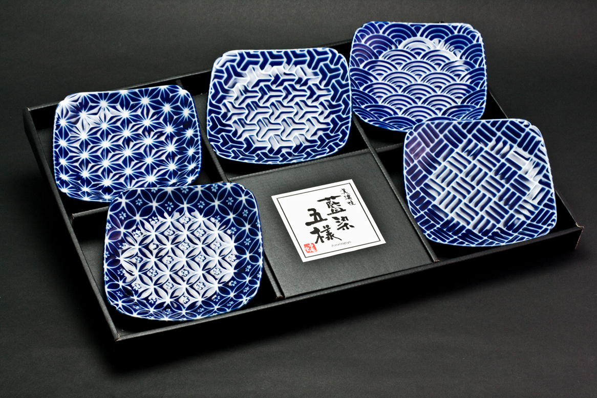 Edo Komon 5pce Square Plate Set