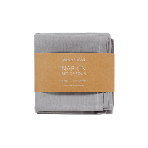 Grey Cotton Linen Napkin Set