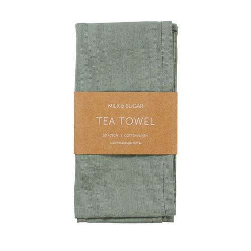 Bottle Green Cotton Linen Tea Towel