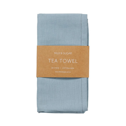 Cadet Blue Cotton Linen Tea Towel