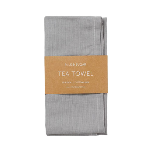 Grey Cotton Linen Tea Towel