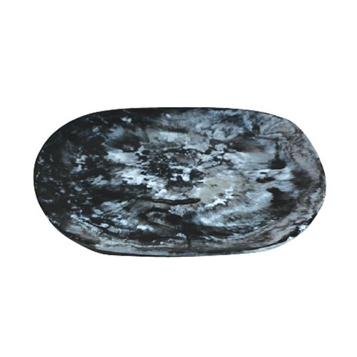 Organic Resin Platter Medium Black Swirl