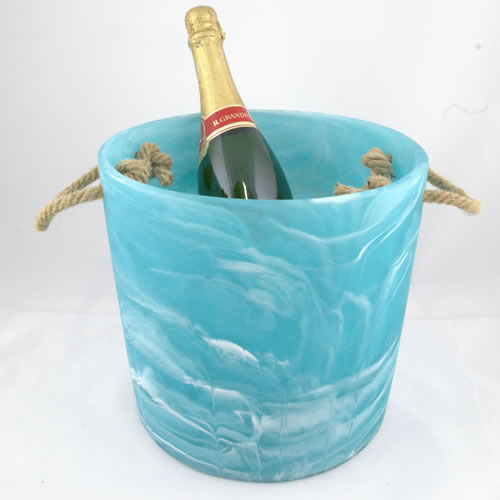 Resin Aqua Swirl Ice Bucket
