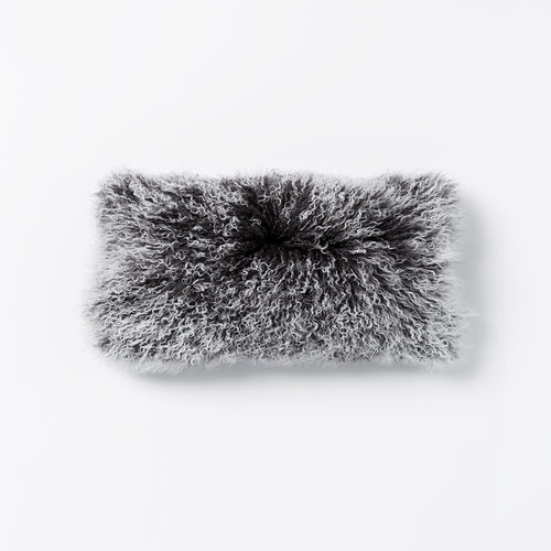 Lina Lambswool Rectangle Cushion in Charcoal Snow