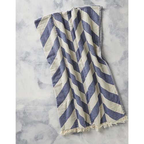 Chevron Jaquared Throw in Denim