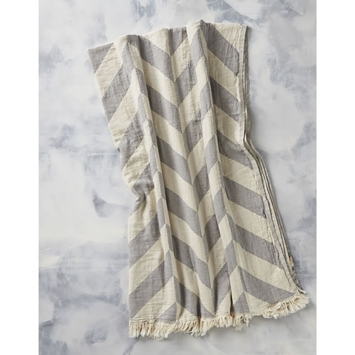 Chevron Jaquared Throw in Grey