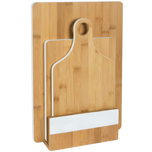 Bamboo 3pce Chopping Board Set with Stand