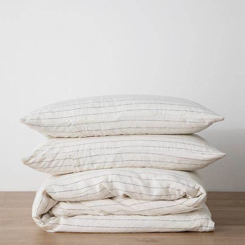 King Linen Duvet Cover Set - with pillowcases - Pencil Stripe
