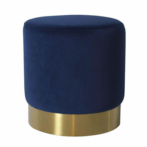 Darcy & Duke Velvet Brass Ottoman Small Navy
