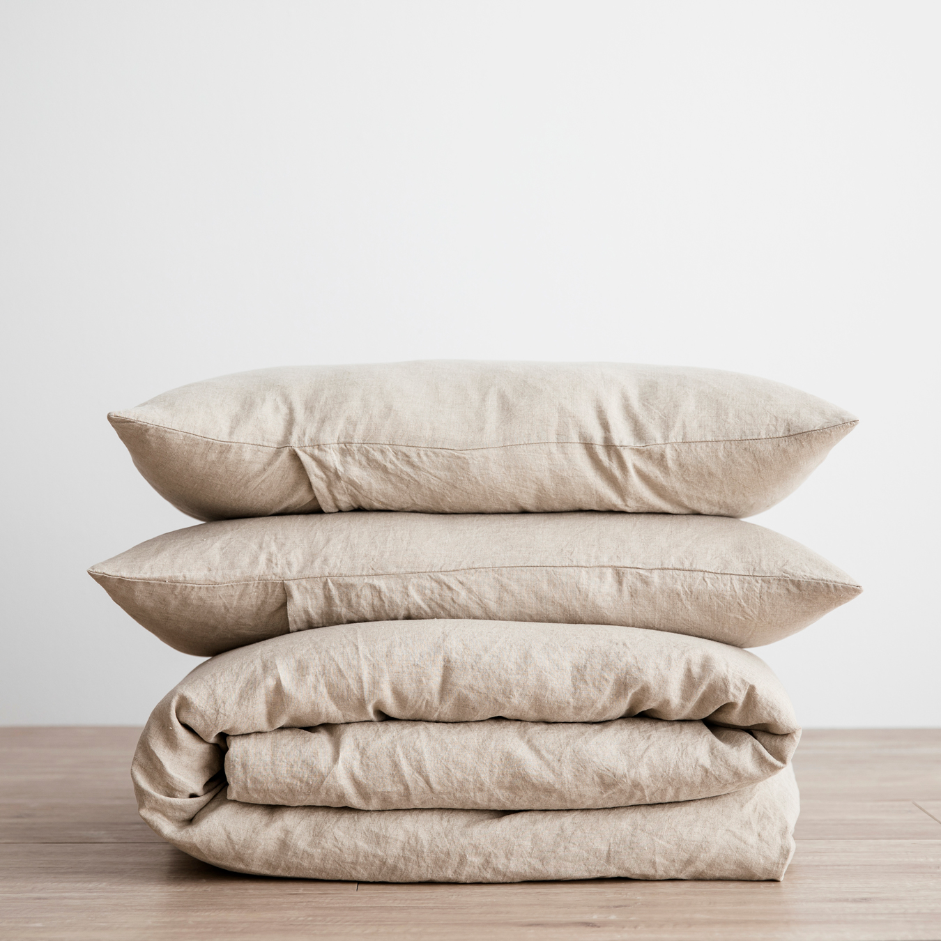 King Linen Duvet Cover Set - with pillowcases - Natural