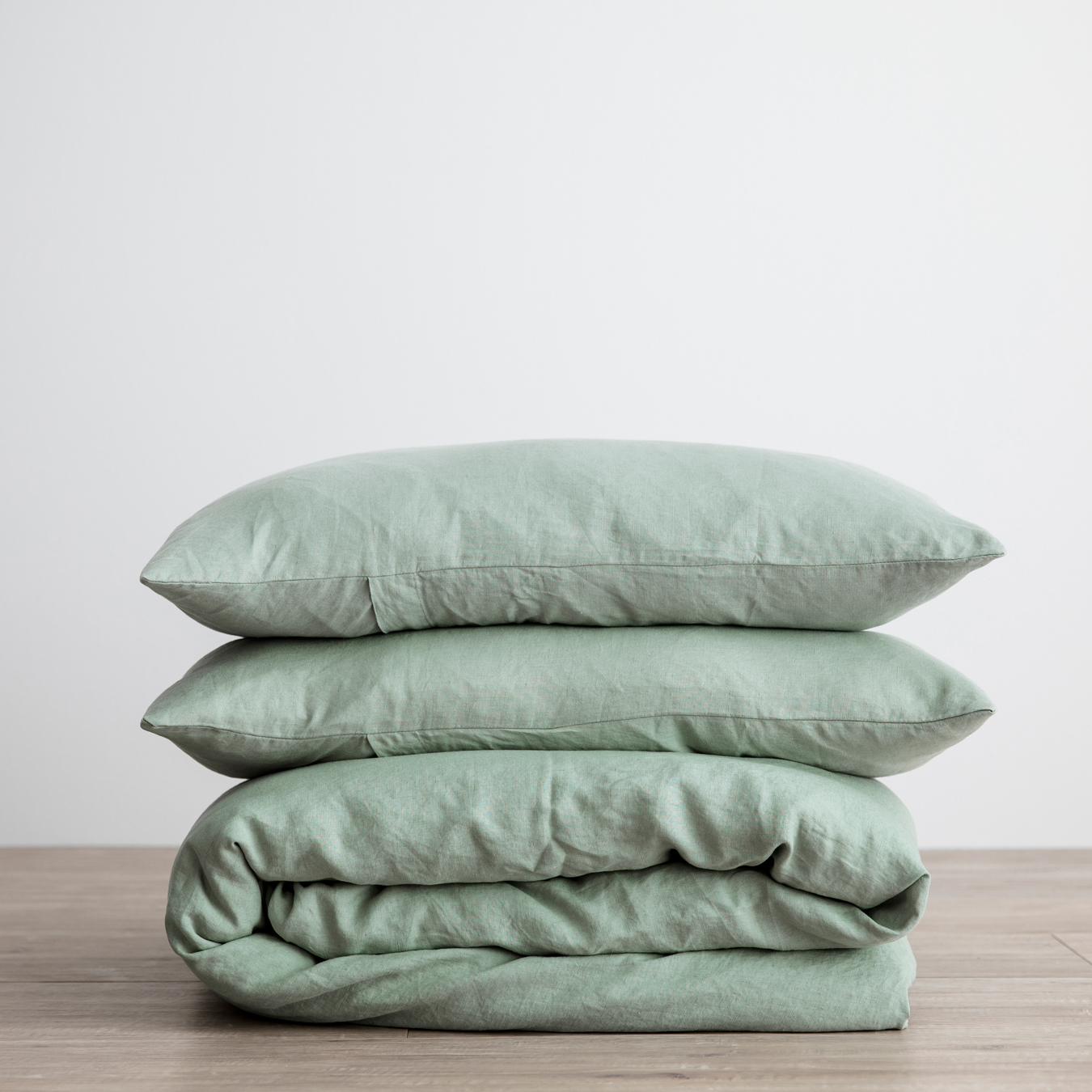 King Linen Duvet Cover Set - with pillowcases - Sage