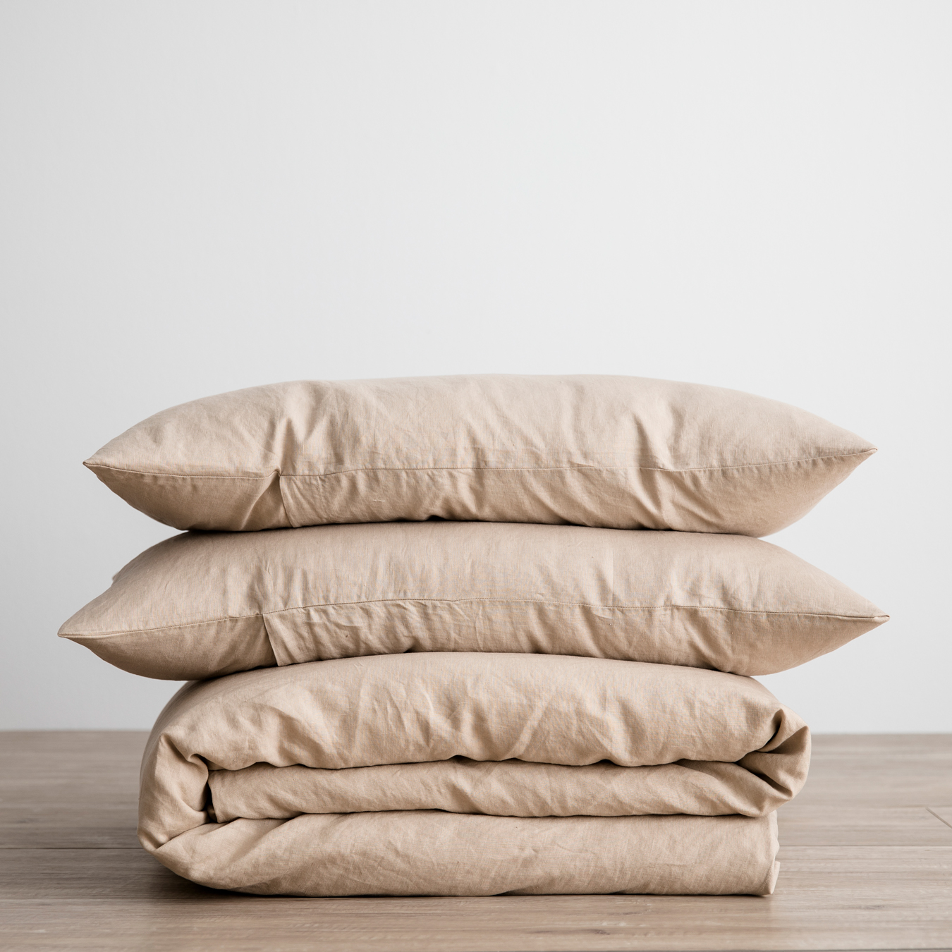 King Linen Duvet Cover Set - with pillowcases - Nude