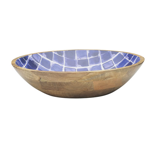 Ecology Indigo Mango Wood Deep Water Round Bowl 40cm x 10cm
