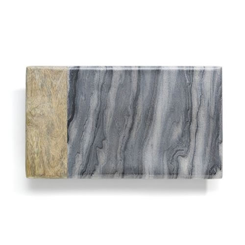Market Rectangle Board with Mango Wood Black Marble