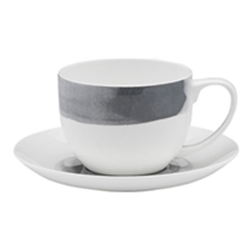 Ecology Seasons Watercolour Smoke Bone China Teacup & Saucer