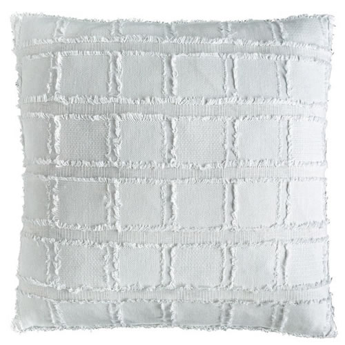 Bedu Cushion Linen Cotton Fringed Finish 50x50cm White