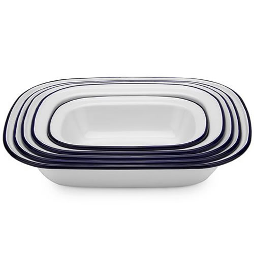 White & Blue Enamel Pie Dish Set 5 Piece