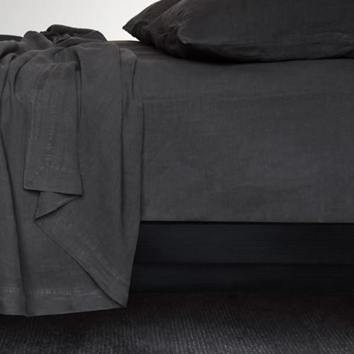 Bemboka Queen Fitted Sheet in Coal