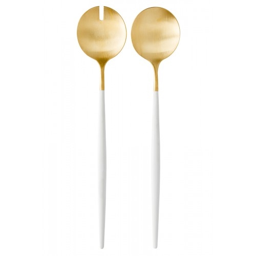 Cutipol Goa White 24 Carat Gold Salad Servers