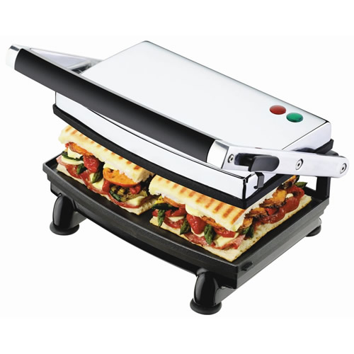 Sunbeam Sandwich Press with Ribbed Top & Flat Bottom in Stainless Steel