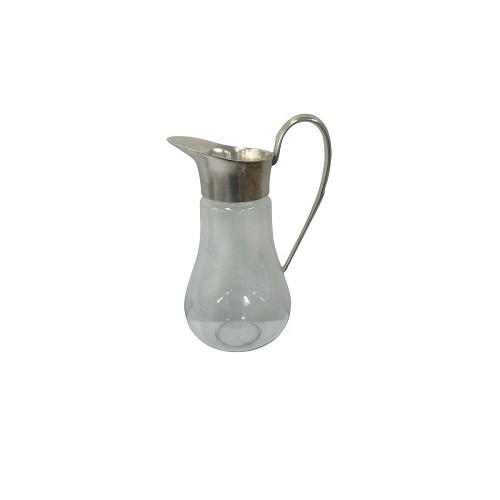 Plain Metal & Glass Jug or Vase 27cm