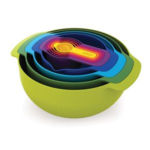 Multicoloured Nesting Plus Mixing Bowls and Measuring Cups Set